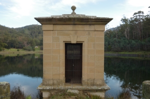 A valve house on the edge of the upper reservoir