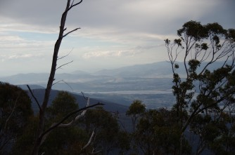A glimpse of northern Hobart from Hunters Track